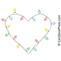 Christmas lights like heart isolated on white