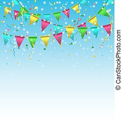 buntings with confetti on sky - Multicolored bright buntings...