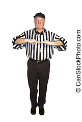 Man dressed as an NFL referee signalling an illegal shift