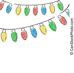hand drawn Christmas lights isolated on white - Multicolored...