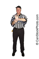Man dressed as an NFL referee signalling illegal use of...