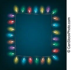 led Christmas lights like frame on blue