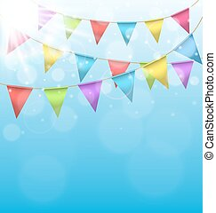 buntings with sun on sky background - Multicolored bright...