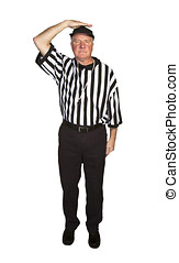 Man dressed as an NFL referee signalling ineligible receiver...
