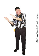 Man dressed as an NFL referee signalling intentional...