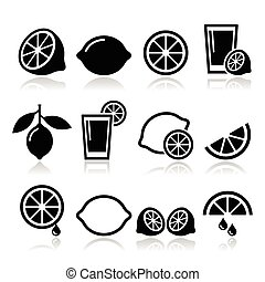 Lemon, lime icons set - Vector food icons set - lemon or...