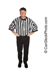 Man dressed as an NFL referee signalling offsides