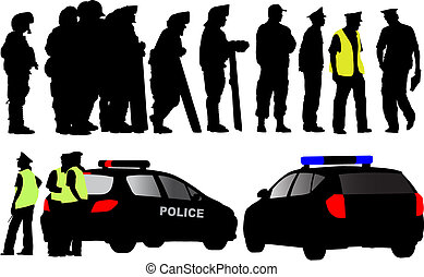 Policemen and police car silhouettes Different clothes like...