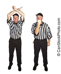 Man dressed as an NFL referee signalling personal foul, face...