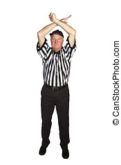 Man dressed as an NFL referee signalling personal foul...