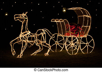 Christmas horse-drawn carriage - A large shining horse-drawn...