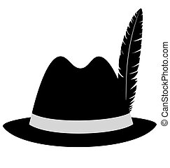Black hat with feather on white