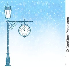 Vintage lamppost with clock in snowfall on blue - Vintage...