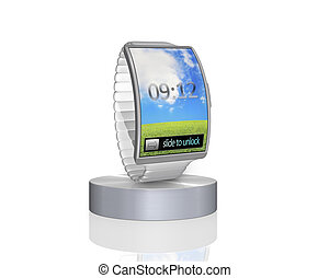 grey curve screen smartwatch on showcase with steel watch...