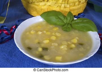 tazón, de, sudoeste, papa, y, maíz, sopa,...
