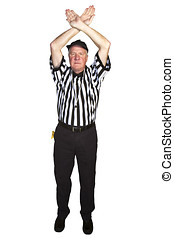 Man dressed as an American football NFL referee signaling...
