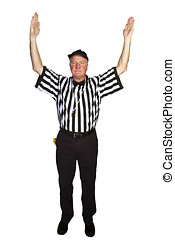Man dressed as an NFL referee signalling a football...