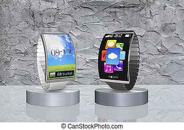 pair colorful curved screen smartwatch with metal watchband...