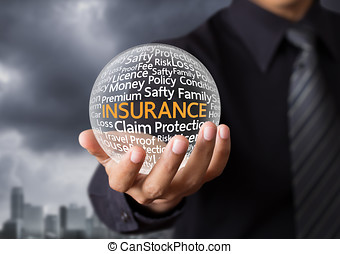Life insurance concept - Wording in glowing crystal ball,...