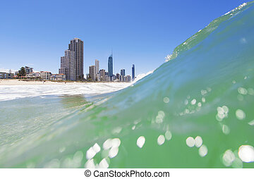 Surfers Paradise, Queensland, Australia - Waves rolling on...