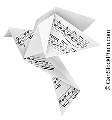 Origami pigeon with musical notes - Origami paper pigeon...