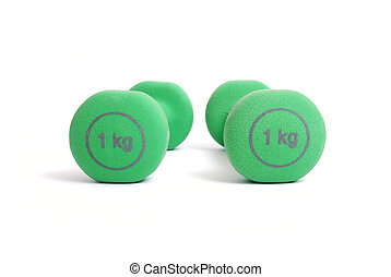 Two green kilogram dumbbells