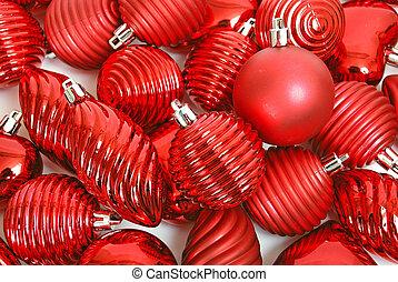 ornamento, navidad, Plano de fondo, rojo