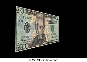 Dollar Devaluation (High definition) - A $20 bill is cut in...
