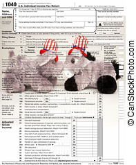 2010 Form 1040 - Republican elephant and Democrat donkey in...