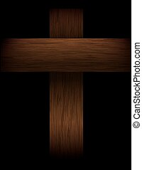 Wooden Cross on Black Illustration - An illustration of a...