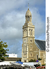 Church of Saint-Gilles-Croix-de-Vie - Bell tower of church...