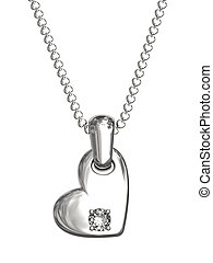 Platinum or silver pendant in shape of heart with diamond