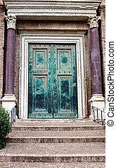 Ancient door with porticus - Ancient door in Rome with...