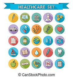 Vector Health care doddle icons set in flat style with long...
