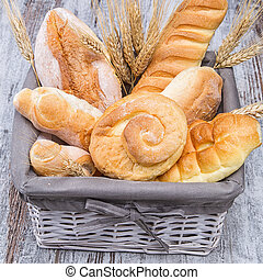brad - bread basket on rough wooden table