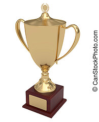 Gold trophy cup on wood pedestal with blank golden plate...