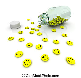 Tranquilizer - Yellow antidepressant drugs from glass bottle