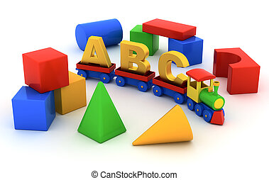 ABC train - Toy train with carriages and toy blocks on white...