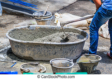 Construction workers cement