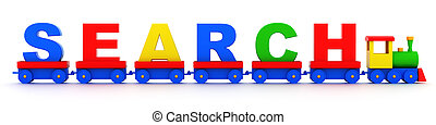 Search - The search text on isolated toy locomotive