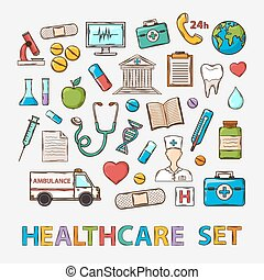 Vector Medical doddle set on a white background