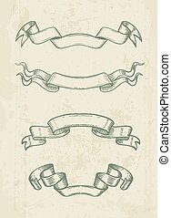 Hand drawn vintage ribbons design elements