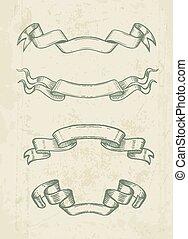Hand drawn vintage ribbons design elements