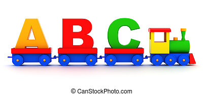 Toy alphabet - Letters abc in toy train carriages on a white...
