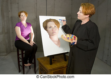 Woman painting her self portrait in art class
