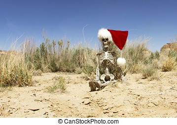 Skeleton with christmas cap sitting in desert