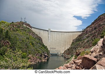Hydropower - A large, electricity producing dam on a river.
