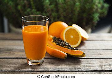 Orange, papaya and carrot smoothie - Healthy orange, papaya...