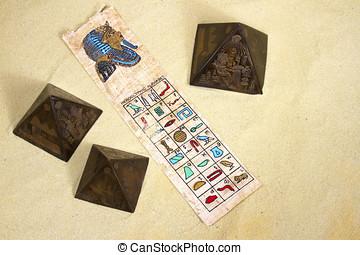 Pergament, med, heiroglyphic, Alfabet, och, Faraoner, huvud,...