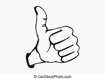 Thumbs Up symbol hand drawn